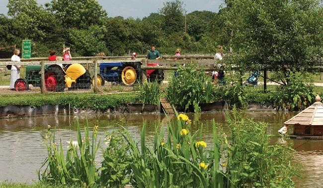 Tractor across pond Odds Farm